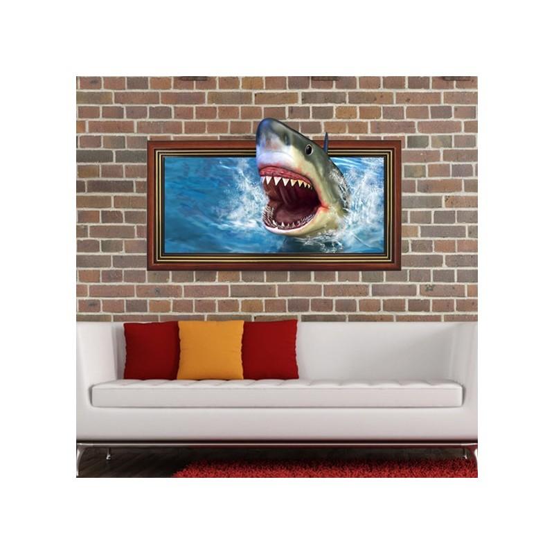 Adesivo da muro 3d squalo dottorgadget for Adesivi parete 3d