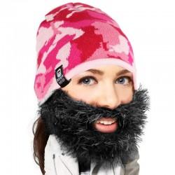 Cappello con barba cespuglioso mimetico rosa