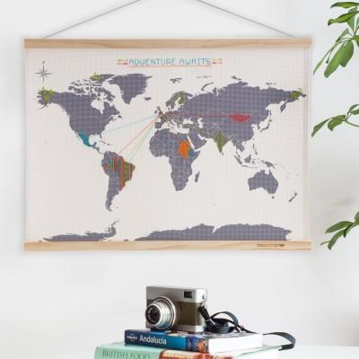 Mappa del mondo al punto croce