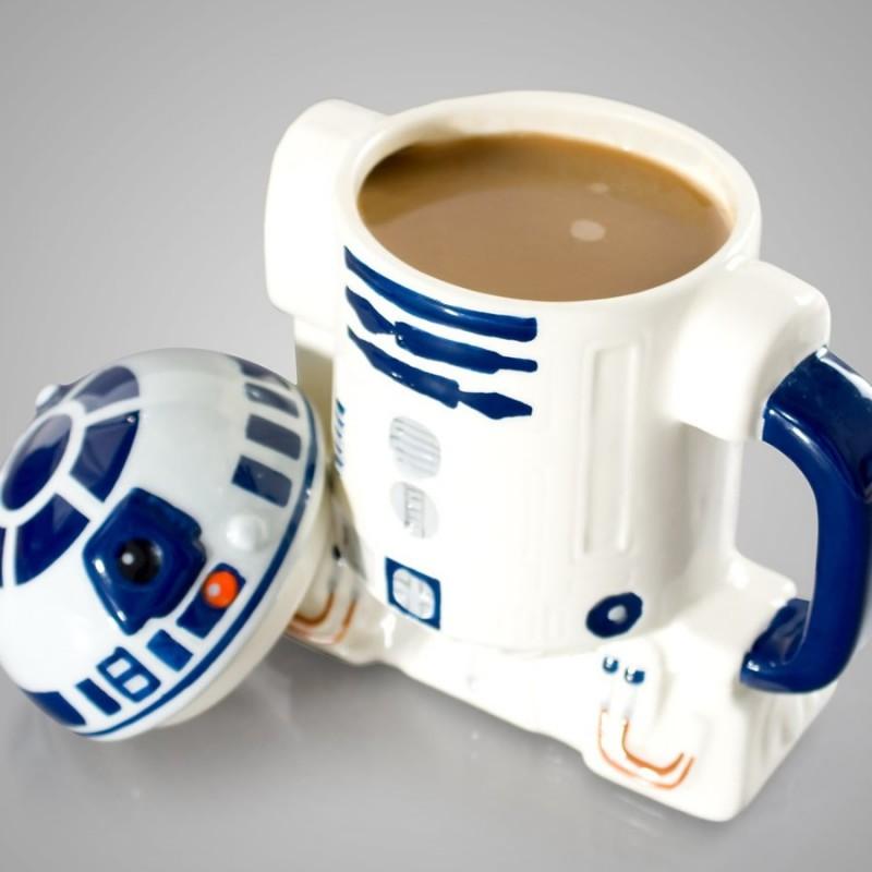 Mug con coperchio R2-D2 (aperto)