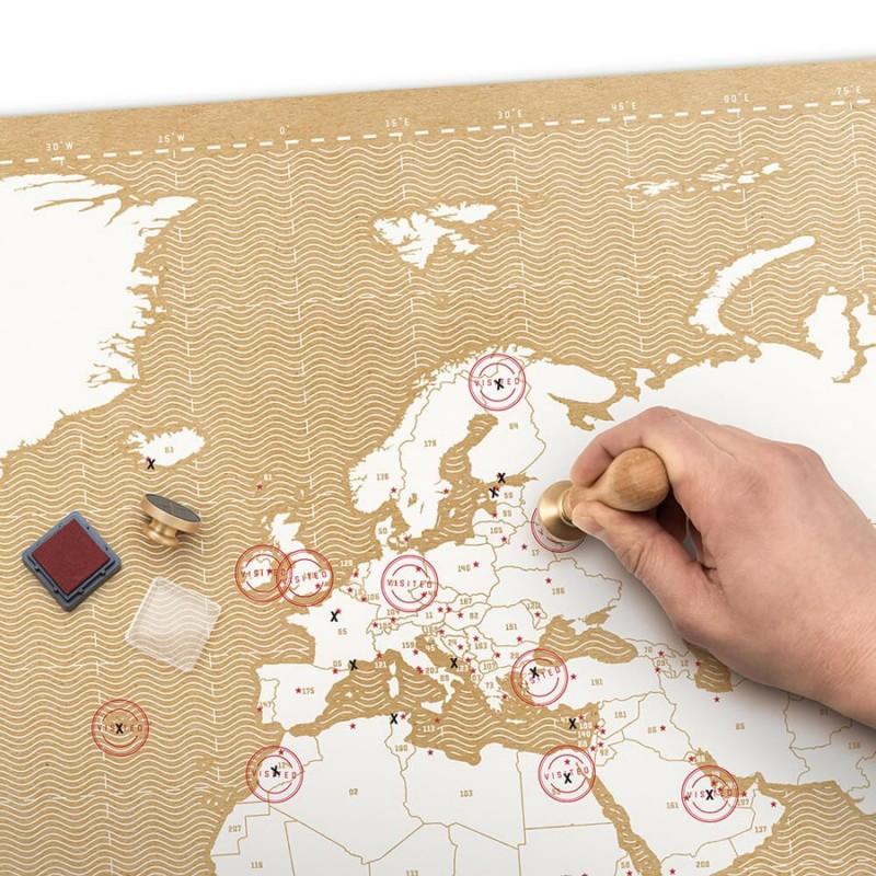 Mappa del mondo con timbro