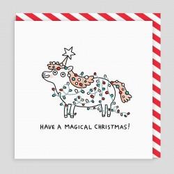 Biglietto di auguri di Natale Unicorno magico
