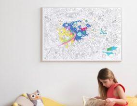 Poster da colorare per bambini Cosmos