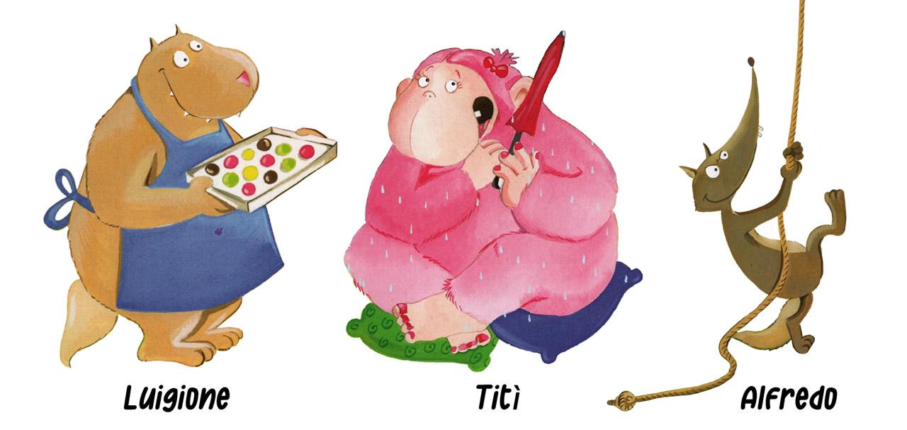 Lupo cartone animato - I personaggi (Luigione, Titì e Alfredo)
