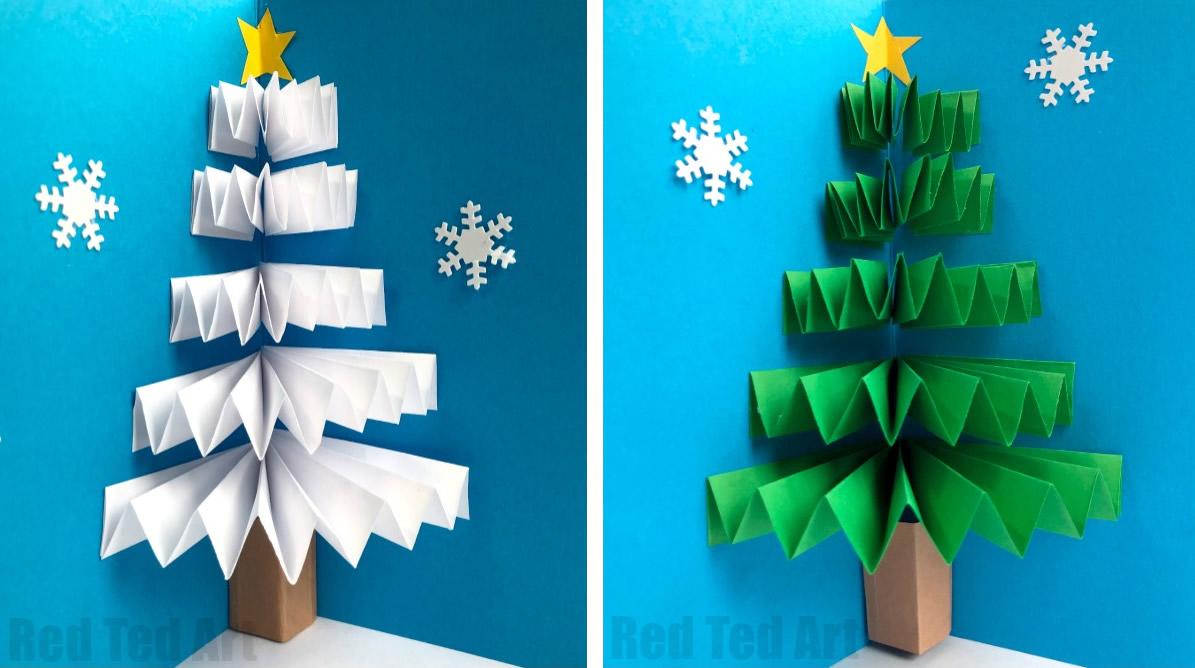 Biglietto di auguri con albero di Natale pop-up