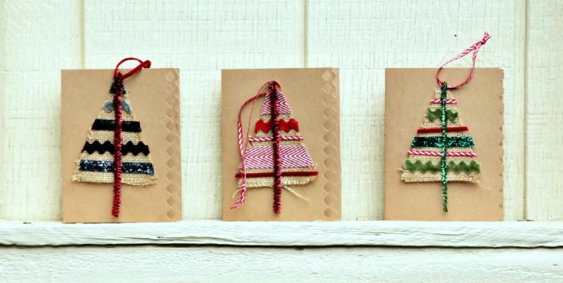 Biglietti di Natale con decorazioni di tela