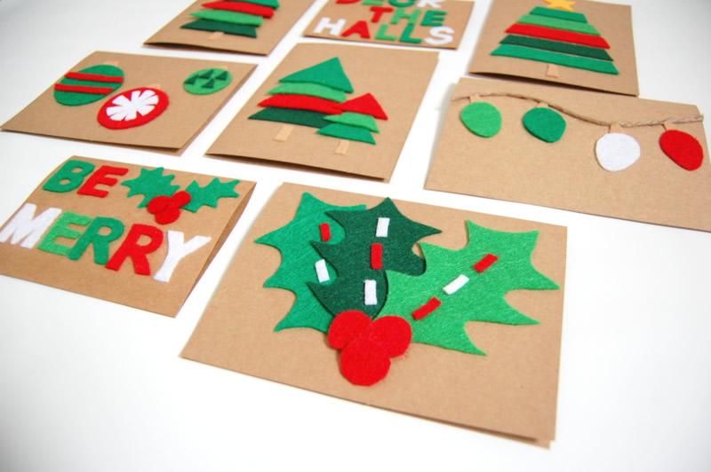 Biglietti di auguri di Natale con feltro