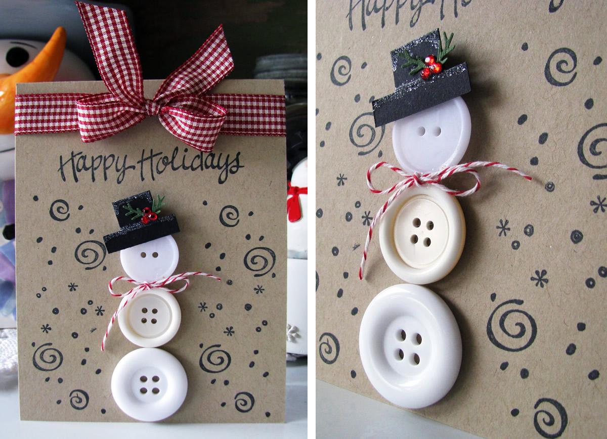 Biglietto di Natale pupazzo di neve con bottoni
