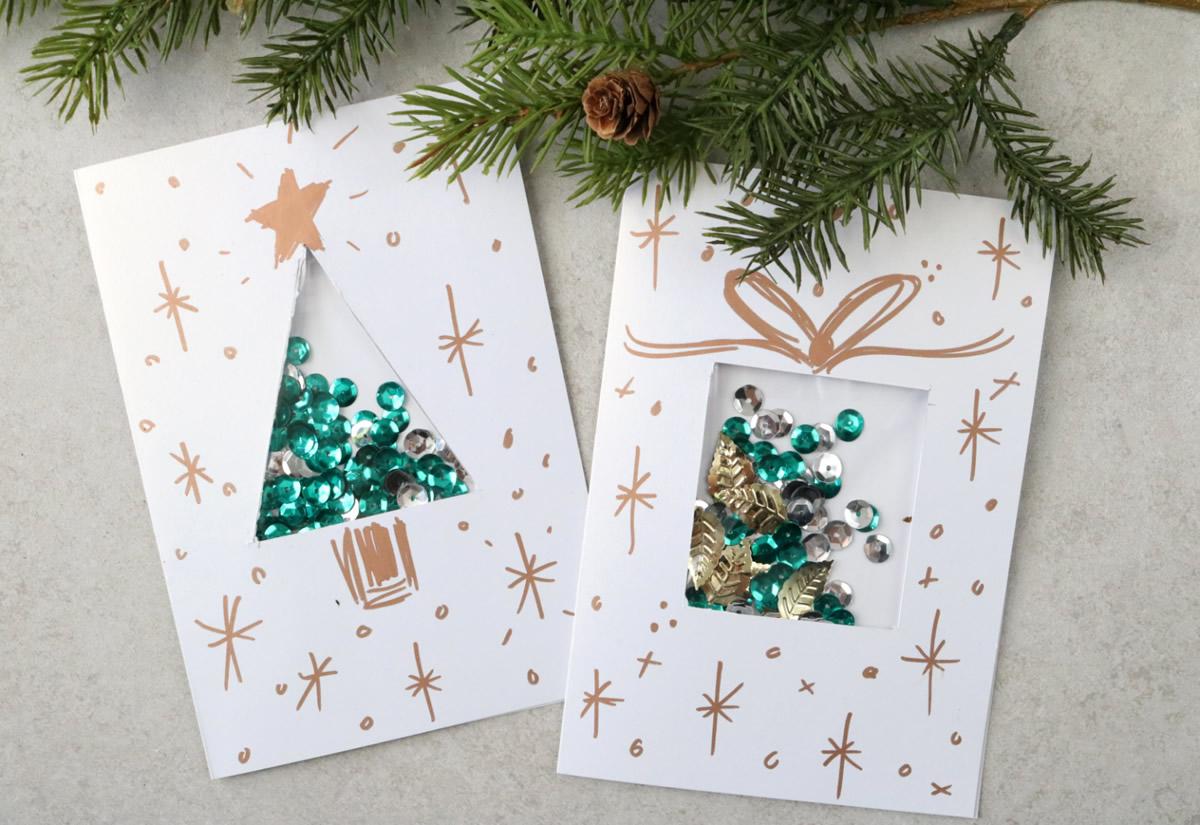 Biglietti di Natale con coriandoli
