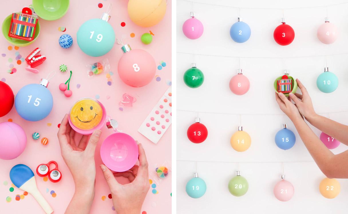 Calendario dell'avvento con palline di Natale