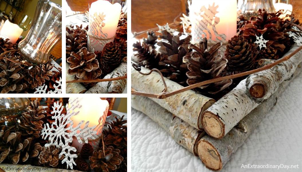Centrotavola natalizio con pigne e rami di betulla