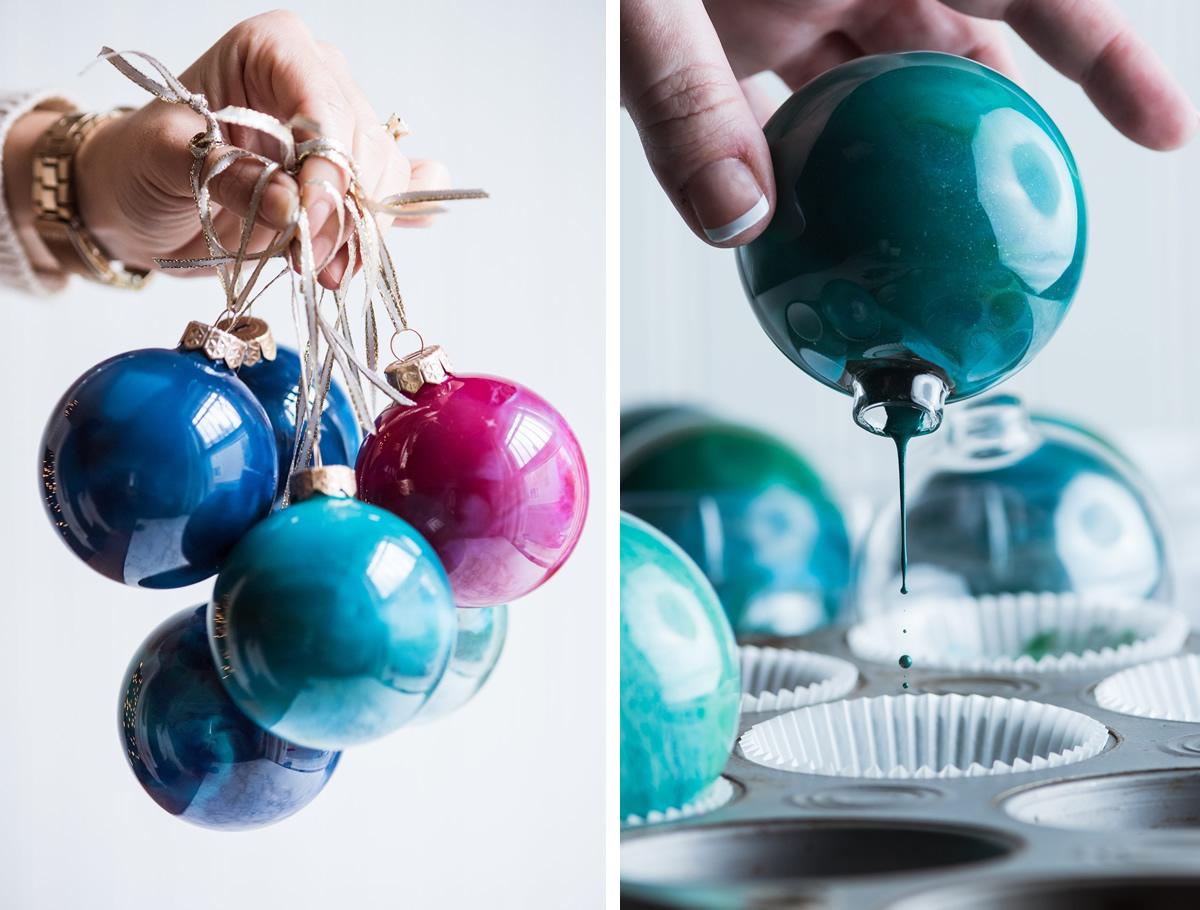 Palline di Natale con pastelli a cera sciolti