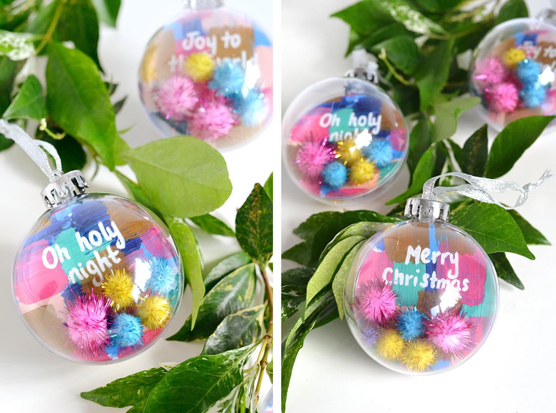 Palline di Natale ripiene di pom pom colorati