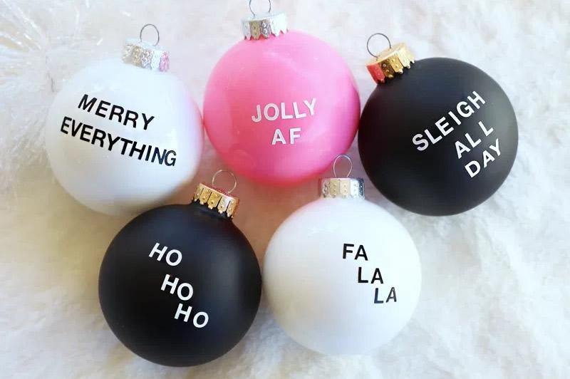 Palline di Natale con scritte