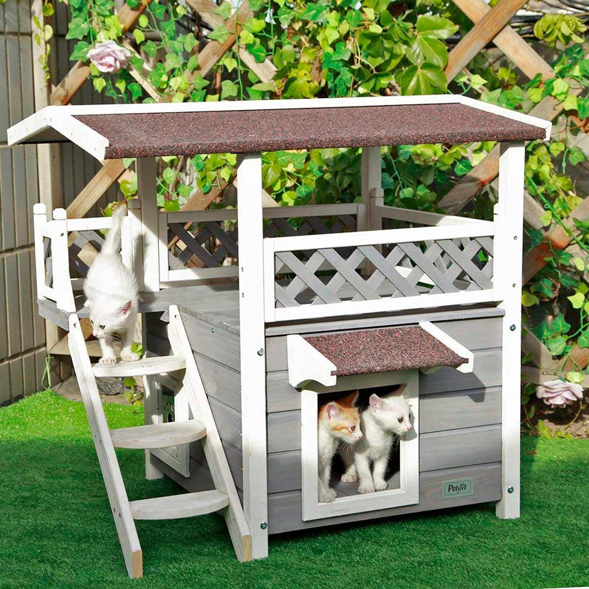 Casetta per gatti con terrazzino